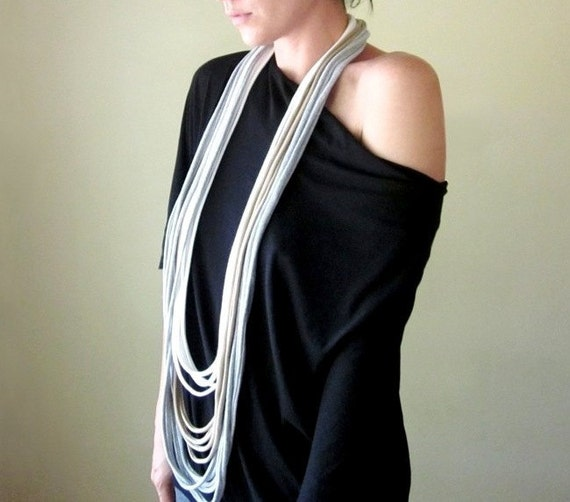 Cotton Scarf Necklace - Tan, White, Heather Gray Infinity Scarf - Upcycled Fashion - Eco Friendly