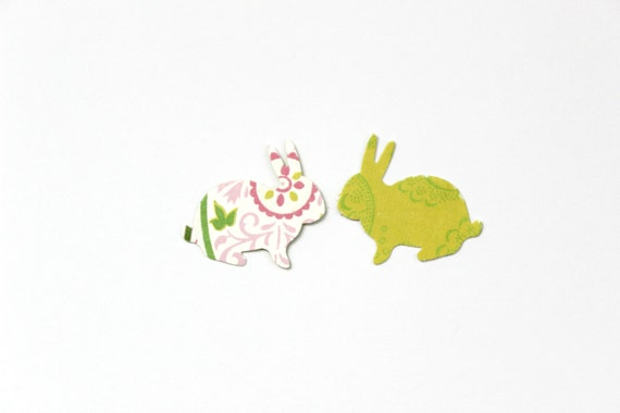 Bright Pastel Spring Bunny Rabbit Die Cuts - Pink Green Baby Shower