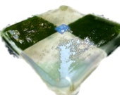 Fused Dichroic Glass Coaster Indivdual Coaster Autumn Colors Green and Amber 133