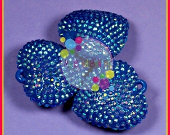 42mm Rhinestone Heart 1 Piece AB Blue Pendant Bead DIY Crafts For Chunky Necklaces July 4th Patriotic