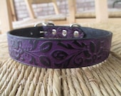 "Custom Listing for Cindy.  Custom Size Small-medium Black Violet Leather Dog Collar.  1"" Width. Brass Hardware."