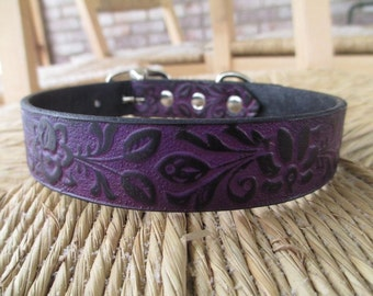 "Black Violet Leather Dog Collar.  1"" Width. Embossed  Purple Gothic Floral Collar. Made to Order."