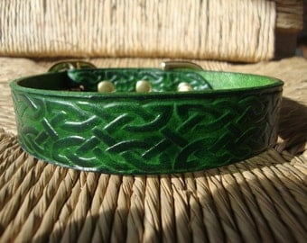Forest Green Celtic Collar  Embossed  Leather Dog Collar. Celtic Pattern with Solid Brass Buckle.