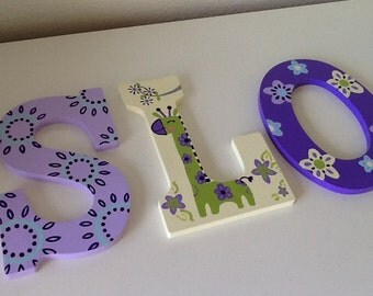 Custom Painted Girl's Wall Letters- Zoo Garden (price listed is per letter)