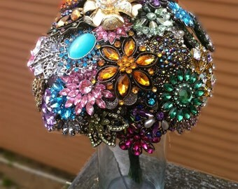 Large Colorful Wedding Brooch Bouquet - Blue, Pink, Green, Purple, Orange, Yellow, Red