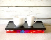 Sofa tray, Laptop stand, Lap Desk or Breakfast serving Tray - Black with Red, Blue, Mint, Purple and Ivory flower print, Jersey Pillow