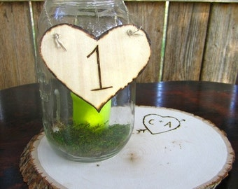 20 Wedding Centerpiece Table Number Signs Engraved Wood Hearts Rustic Vintage Antique Shabby Chic Barn Wedding Decorations Southern Bride