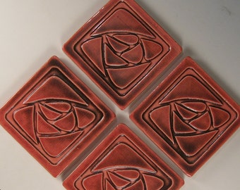Arts and Crafts Mission Style Tile Coasters - Set of 4 Stylized Rose Design