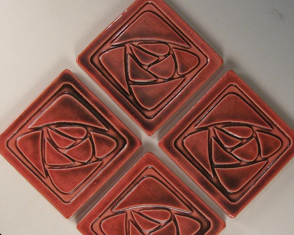 arts and crafts mission style tile coasters set of 4 etsy. Black Bedroom Furniture Sets. Home Design Ideas