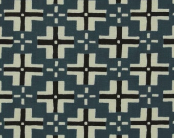 LAMINATED cotton fabric by the yard - Trade Blanket blue Steel Curious Nature - Parson Gray - WIDE - BPA free - Approved for children