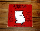"Wooden Signs, Southern Wood Signs, Hand Painted, Shabby Chic, Wood Art, Distressed Wood Sign: ""Athens, GA,  A Place That Gets In Your Blood"""