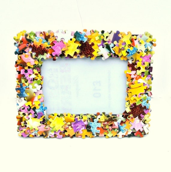 jigsaw puzzle covered free standing or wall mounted photo frame 4x6 inch photos girly game quirky