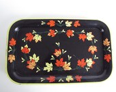 Vintage Black, Yellow and Orange TV Trays - Set of Five - Maple Leaves