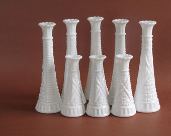 Vintage White Milk Glass Matching Vases - set of eight