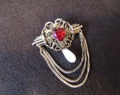 Unique Filigree Heart Brooch, Large Rhinestone Heart, w/ Pearl Dangle and Chains