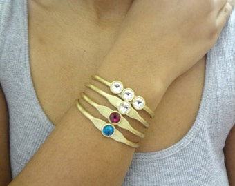 Gold Cuff, Brass, Ruby Red Swarovski, Bracelet, Bangles, Solitary, Wedding, Bridesmaids, Adjustable, Handmade Jewelry, Personalized