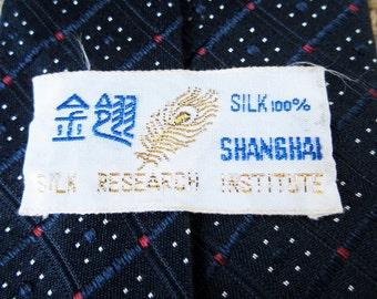 Vintage Shanghai Silk Necktie Shanghai China Silk Research Institute Blue Club Tie