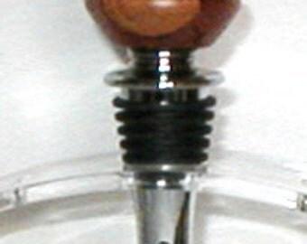 Colorful Lathe Turned Wood Laminated Chrome Base Wine Bottle Stopper With Corkscrew