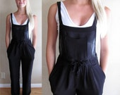 1990's Judy's Pin Striped Brown and Black Overalls - Sheer Fabric Lined with Nylon - Size Medium