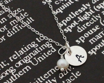 Hand Stamped Charm Jewelry Custom Sterling Silver Necklace You Chose the letter