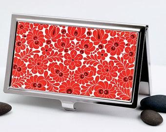 Handmade Business Card Case, Art Deco Bright Red Floral Design, Credit Card Case, Retro Card Holder