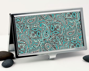 Business Card Case, Retro Paisley Design in Teal Blue, White and Black, Handmade Credit Card Case, Men or Women's Accessory