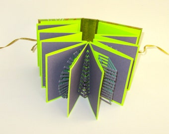 POP UP ACCORDION Book w/Hard Cover Original Hand Cut 8 Origamic Architecture Sculptures Home Decor In Purple and Neon Green OOaK