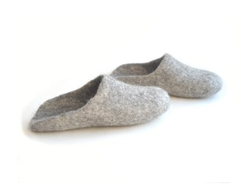 Eco friendly natural grey color handmade felted  open back slide slippers