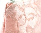 Lace Bridesmaid Gift Blush Pink & Vintage Cream Wedding Cosmetic Bag (Blush Wedding, Blush Bridesmaid Gift)