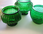 Vintage Glass Planters Emerald Green EO Brody Set of 3 Great for vintage wedding centerpieces