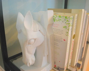 Equestrian Book Ends. Wooden Horse Bookends. Request Any Color As Seen in Pictures. Organize. Office Space.