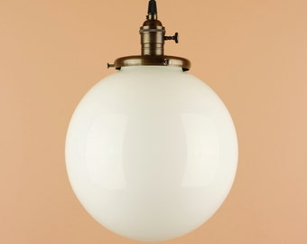 Pendant Light -  Lighting w/ 6, 8 inch or w/ XLarge 10 or 12 inch White Milk Glass Globe - Hand Finished in Oil Rubbed Bronze