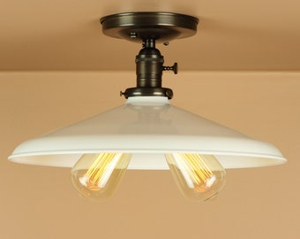 Semi Flush Lighting w/ 14 inch White Porcelain Enamel Shade - Twin Sockets - Oil Rubbed Bronze or Satin Nickel - Downrod Option