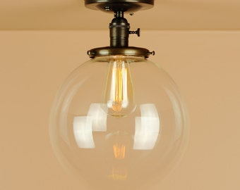 Semi Flush Light  w/X Large 10 inch Clear Glass Globe - Oil Rubbed Bronze - Lighting for Low Ceilings - Downrod Option
