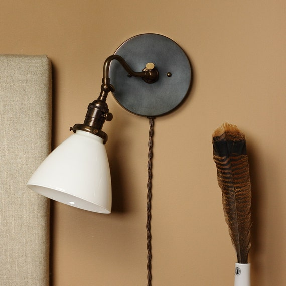 Wall Sconce Lighting - Farm House Style Reading Light w/ Hand Blown Milk Glass Shade- Hand Finished in Oil Rubbed Bronze - Reproduction Wire