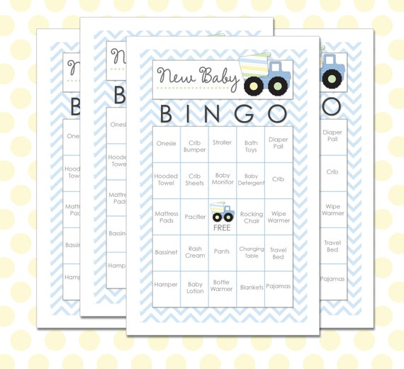Baby shower bingo 30 cards construction by beeskneesdesignshop