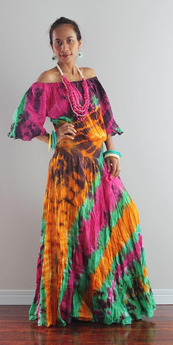 Boho Maxi Dress Off Shoulder Tie Dye Hippie Dress By Nuichan