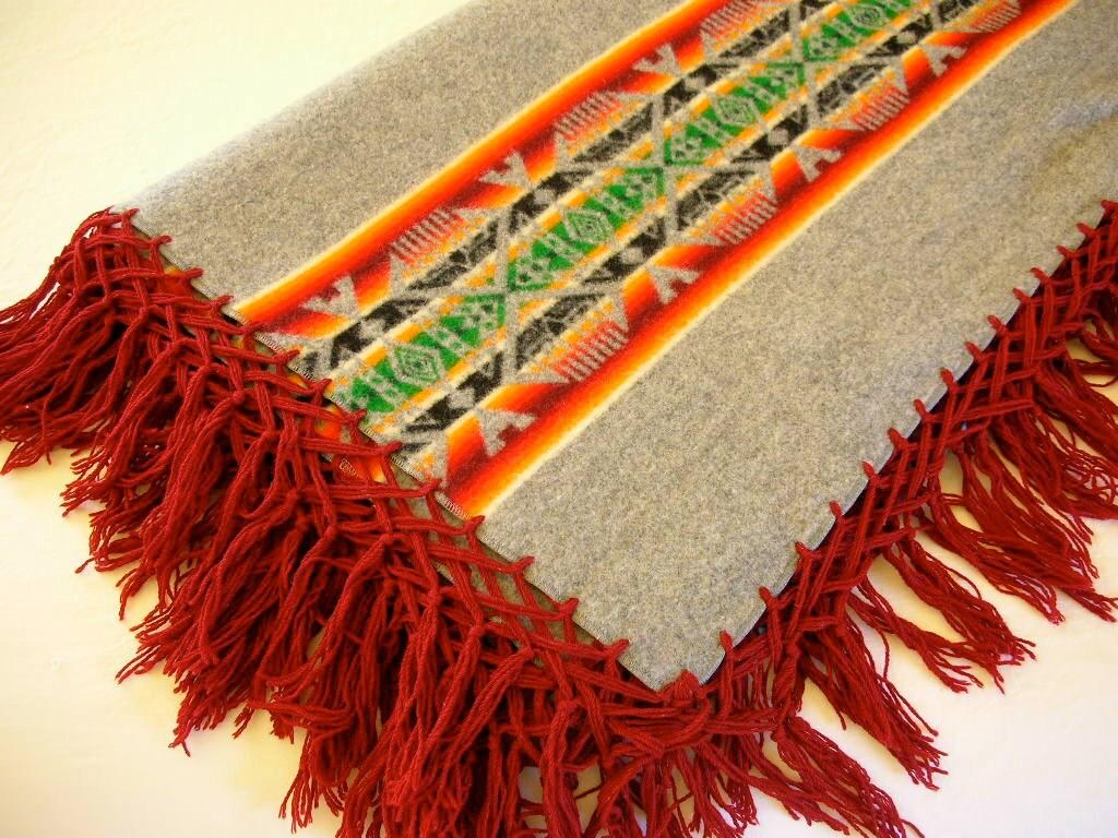 Pendleton Beaver State Wool Blanket Fringe Shawl Gray And