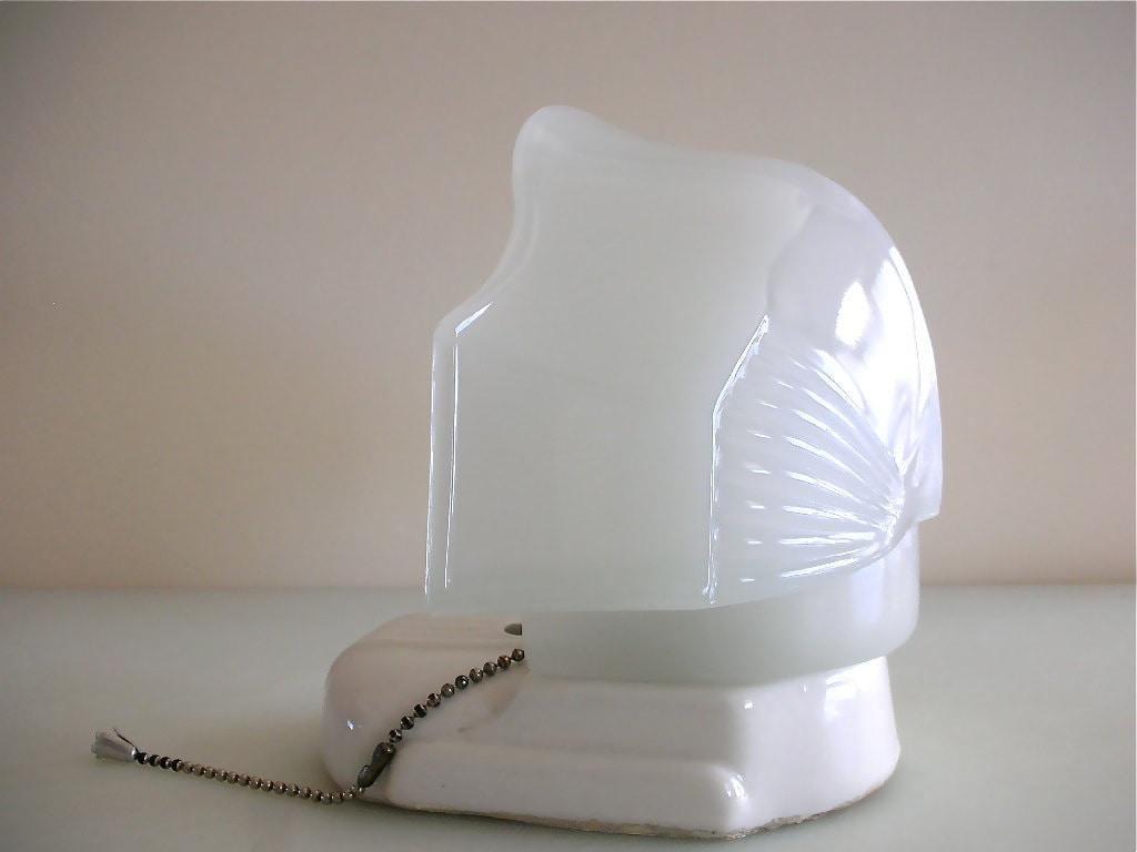 Art Deco Porcelain Bathroom Light Fixture With Plug In Milk