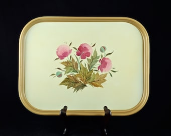 Vintage Midcentury English Hand Painted Artist Signed Tole Floral Metal Tray