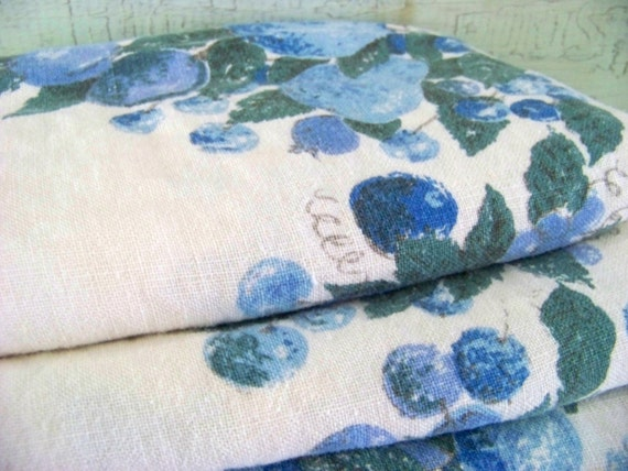 Gorgeous Tablecloth With Blue Fruits And Garlands / Vintage Cotton Fruit Tablecloth / Mint Condition
