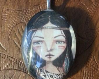 Glass Half Dome Navajo Girl Necklace