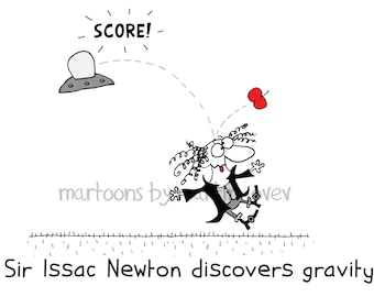 Sir Isaac Newton Discovers Gravity When Hit By A Red Apple Funny Shirt or Mug
