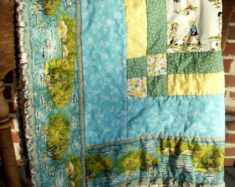 "baby crib quilt ""Enchanted Playtime"""