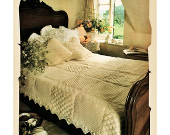 Instant Download PDF Knitting pattern to make an Aran Sampler Quilted Eiderdown Bedspread Bed Cover Blanket Cushion Pillow Country Cottage
