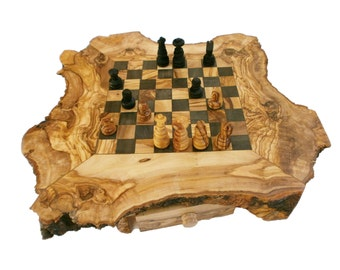 Engraved Unique Olive Wood Natural Edges Chess Set, Personalized Custom Wooden Chess Board Set Game, Dad gift