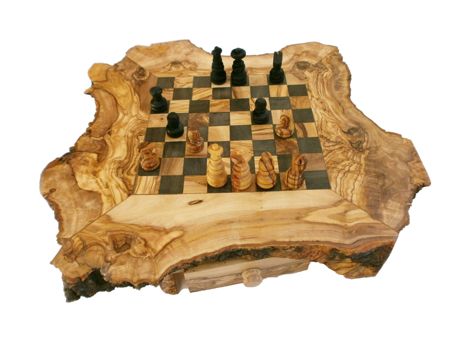 Christmas gift sale unique olive wood natural edges chess - Coolest chess boards ...