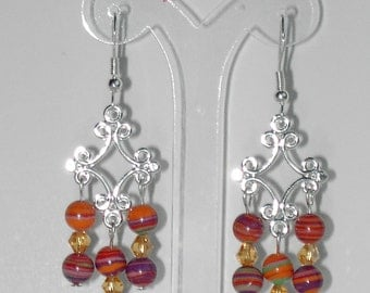 Multi color turquoise chandalier earrings  (#345)