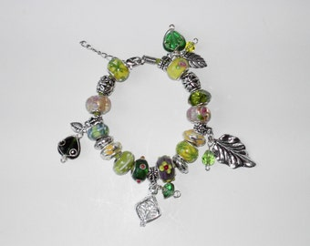 Green Lampwork charm leather  bracelet (#304)