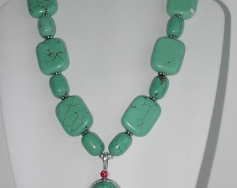 Green Turquoise necklace. Only one made  (#357)